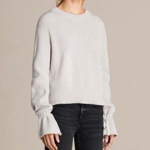 AllSaints Eloise Jumper Ribbed Tie Bell Sleeves